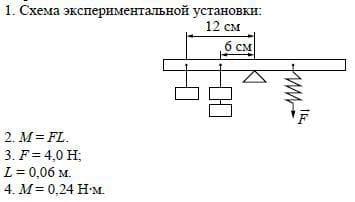 Определение момента силы, приложенной к рычагу