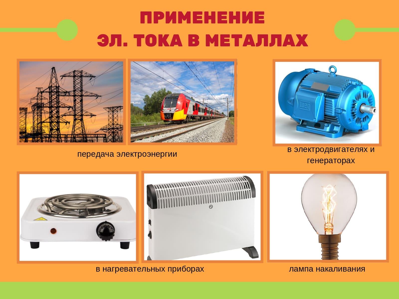 Применение электрического тока в металлах
