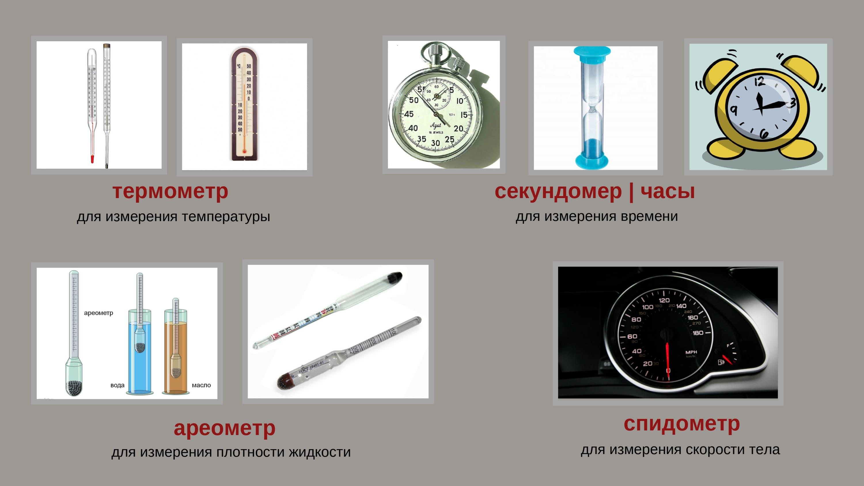 термометр, секундомер, часы, ареометр, спидометр
