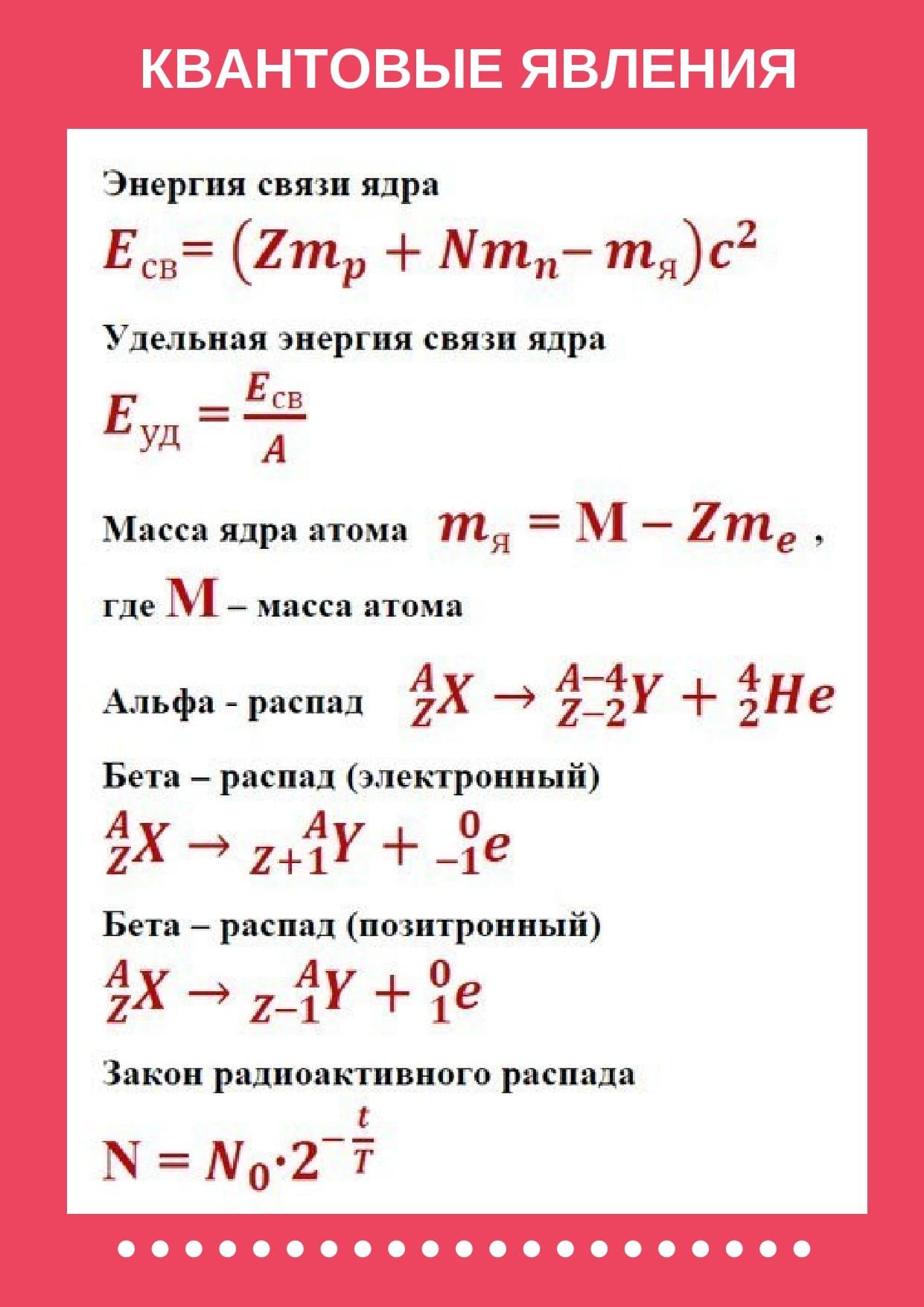 Формулы квантовые явления