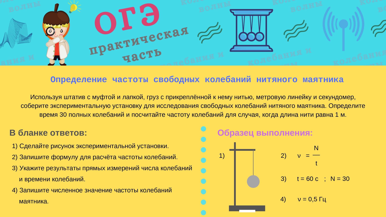определение частоты свободных колебаний нитяного маятника