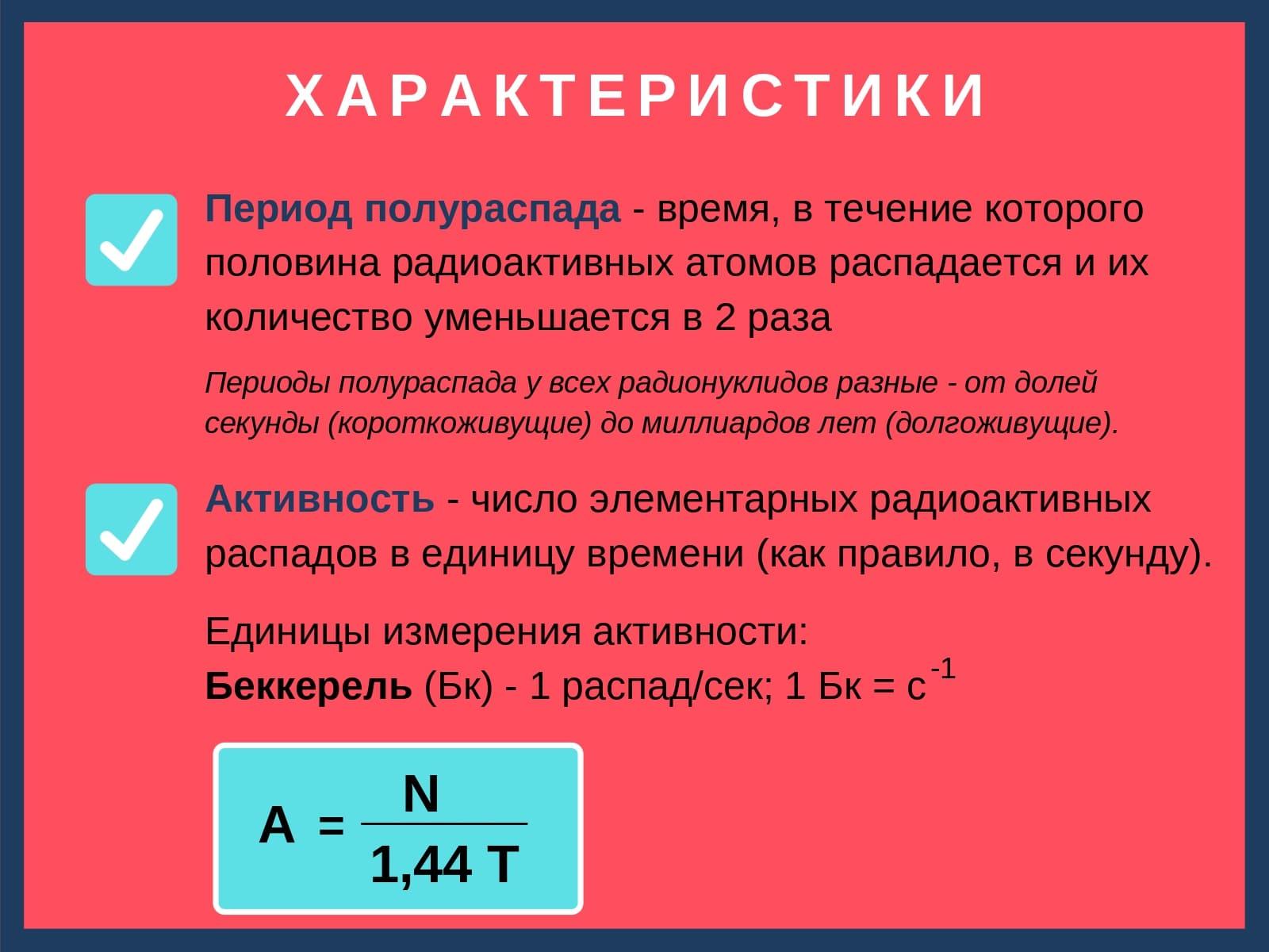 характеристики радиоактивного распада