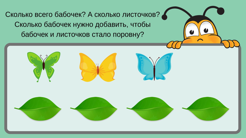 сколько всего бабочек? А сколько листочков?