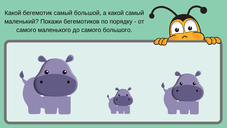 какой бегемотик самый большой, а какой самый маленький?