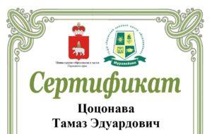 Сертификат. Цоцонава Тамаз Эдуардович. Обложка