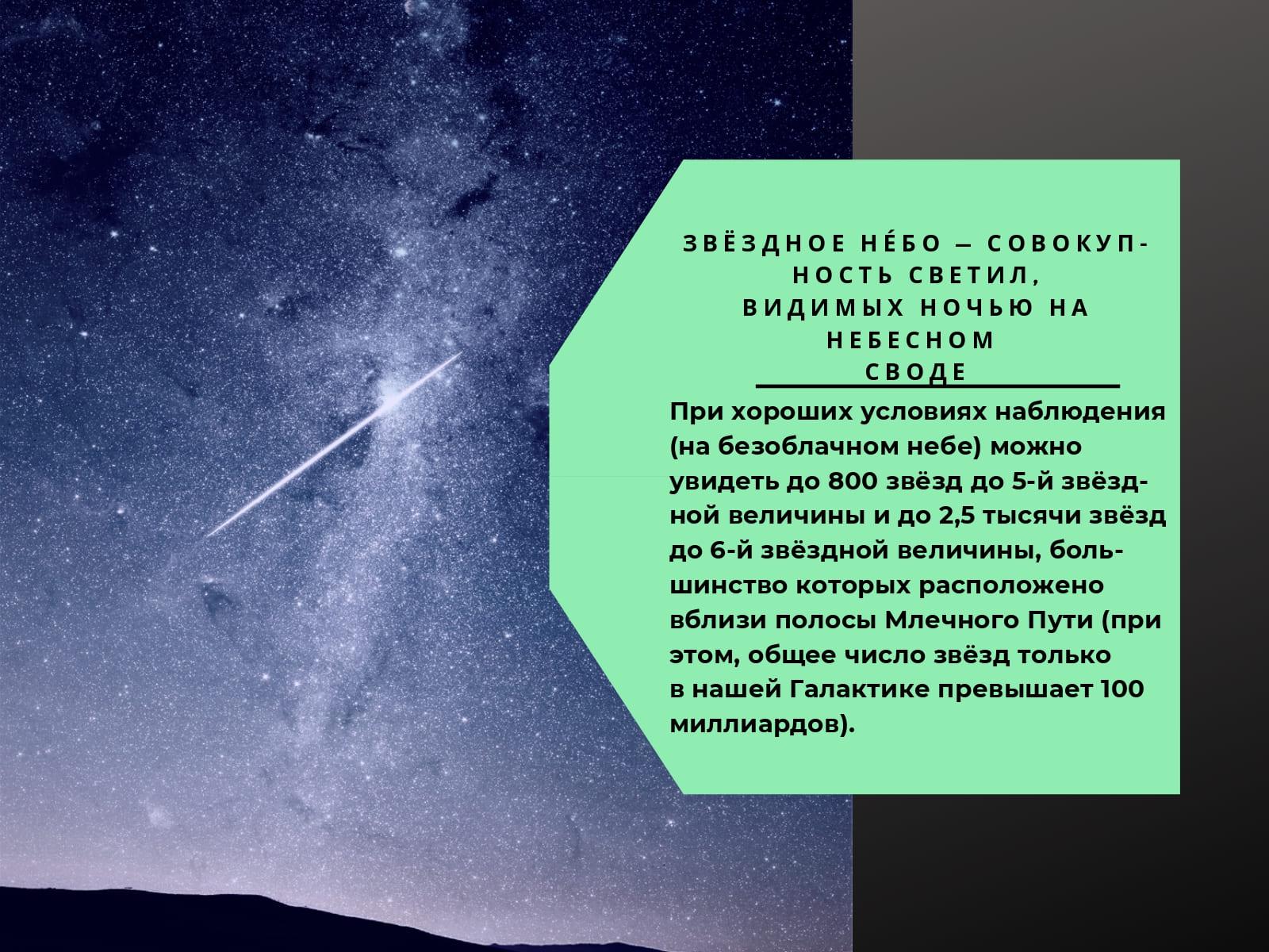 Звёздное небо - совокупность светил, видимых ночью на небесном своде