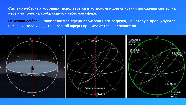 Система небесных координат используется