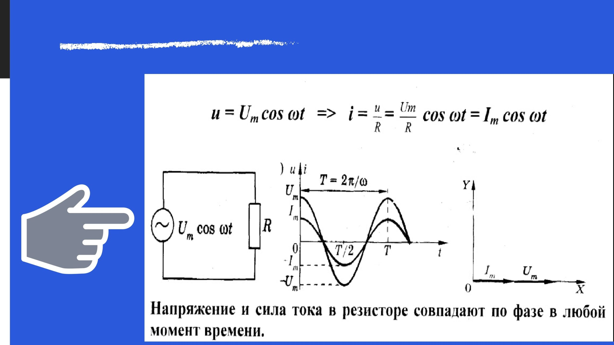 Напряжение и сила тока в резисторе совпадают по фазе в любой момент времени