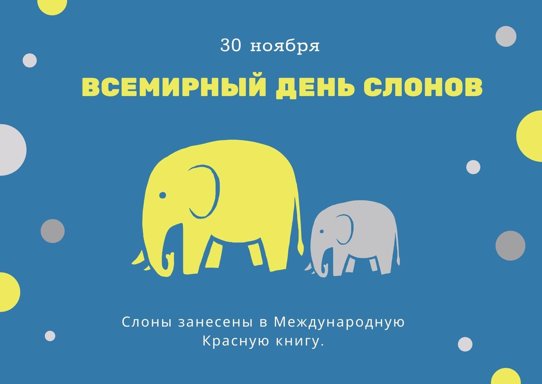 Всемирный день слонов. 30 ноября