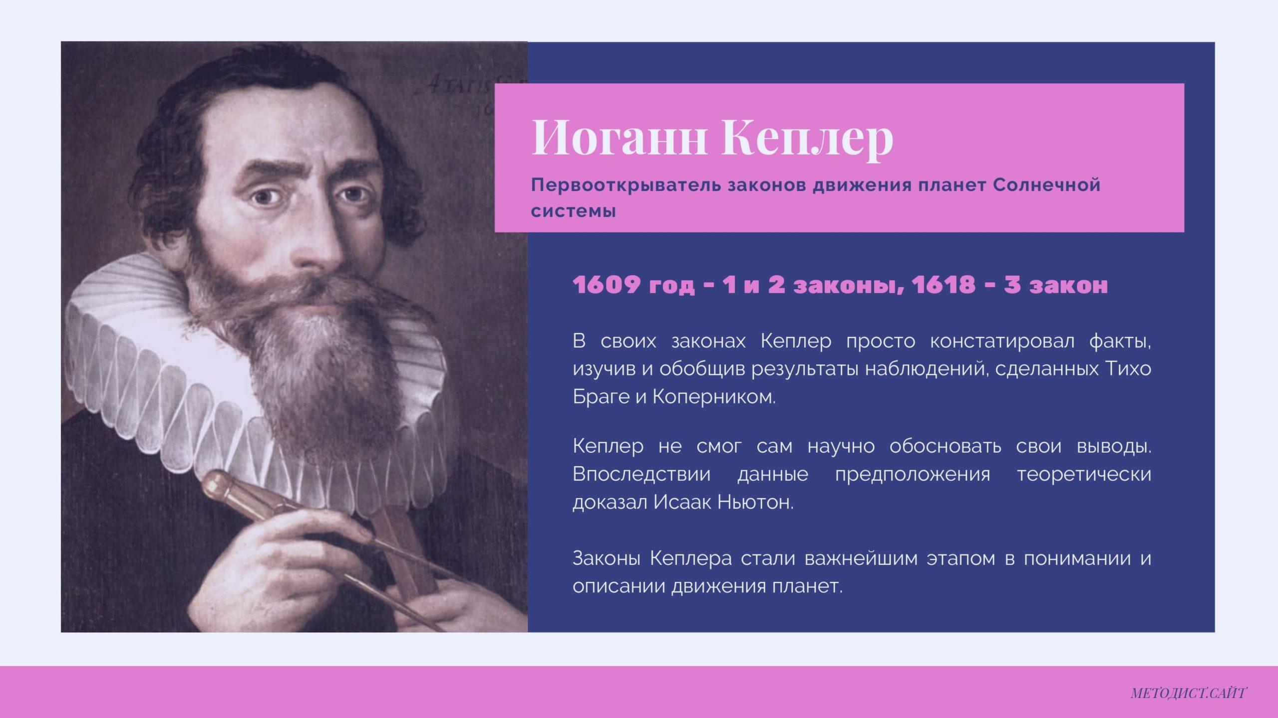 Иоганн Кеплер. Первооткрыватель законов движения планет Солнечной системы