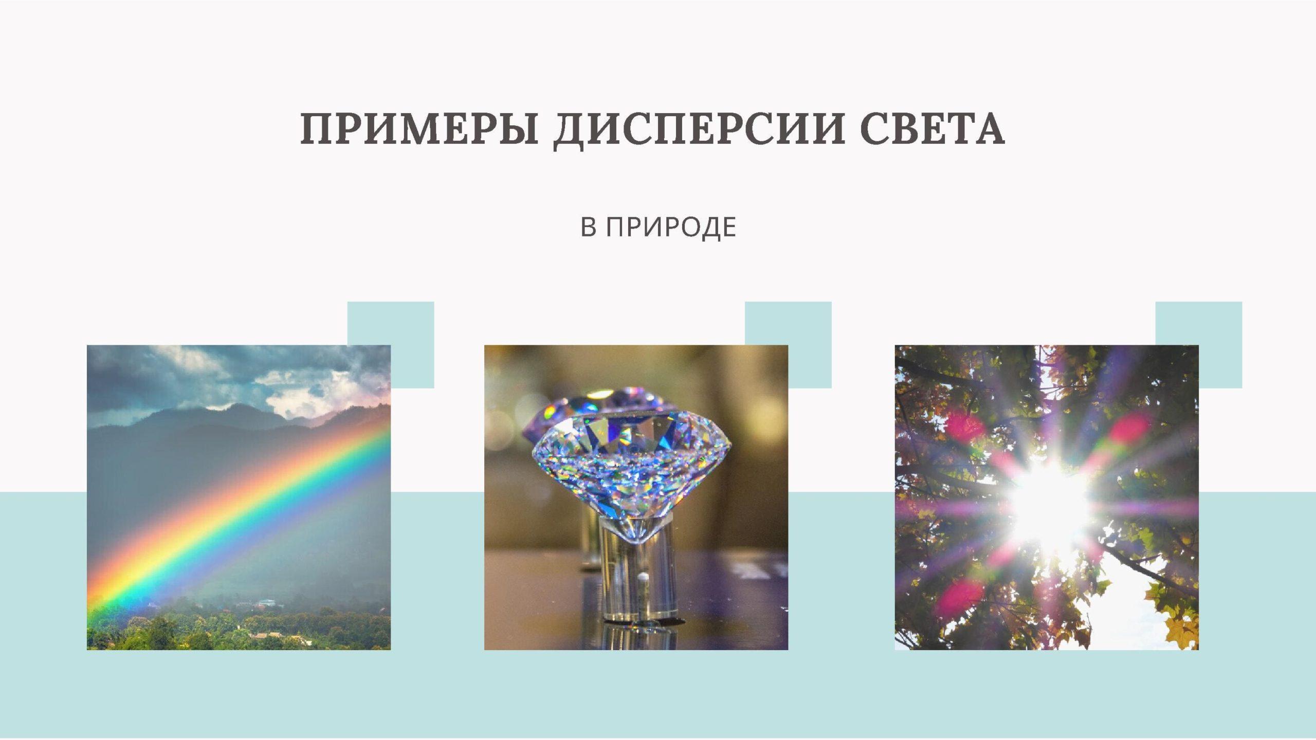 Примеры дисперсии света в природе