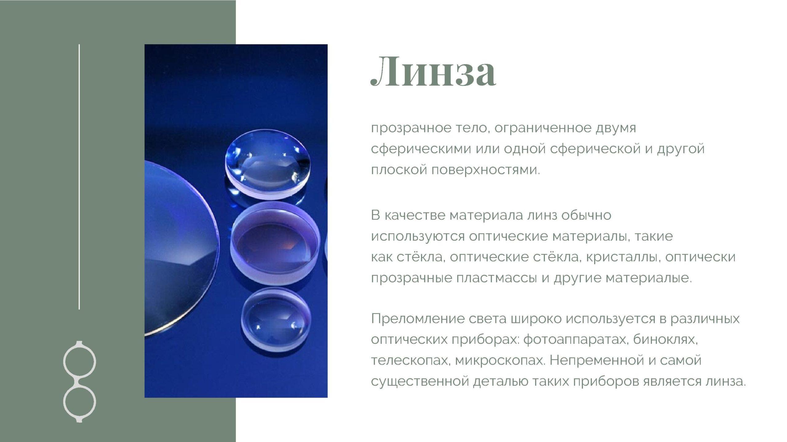 Линза - прозрачное тело, ограниченное двумя сферическими