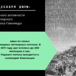Начало активности метеорного потока Геминиды. 7 декабря 2019 г