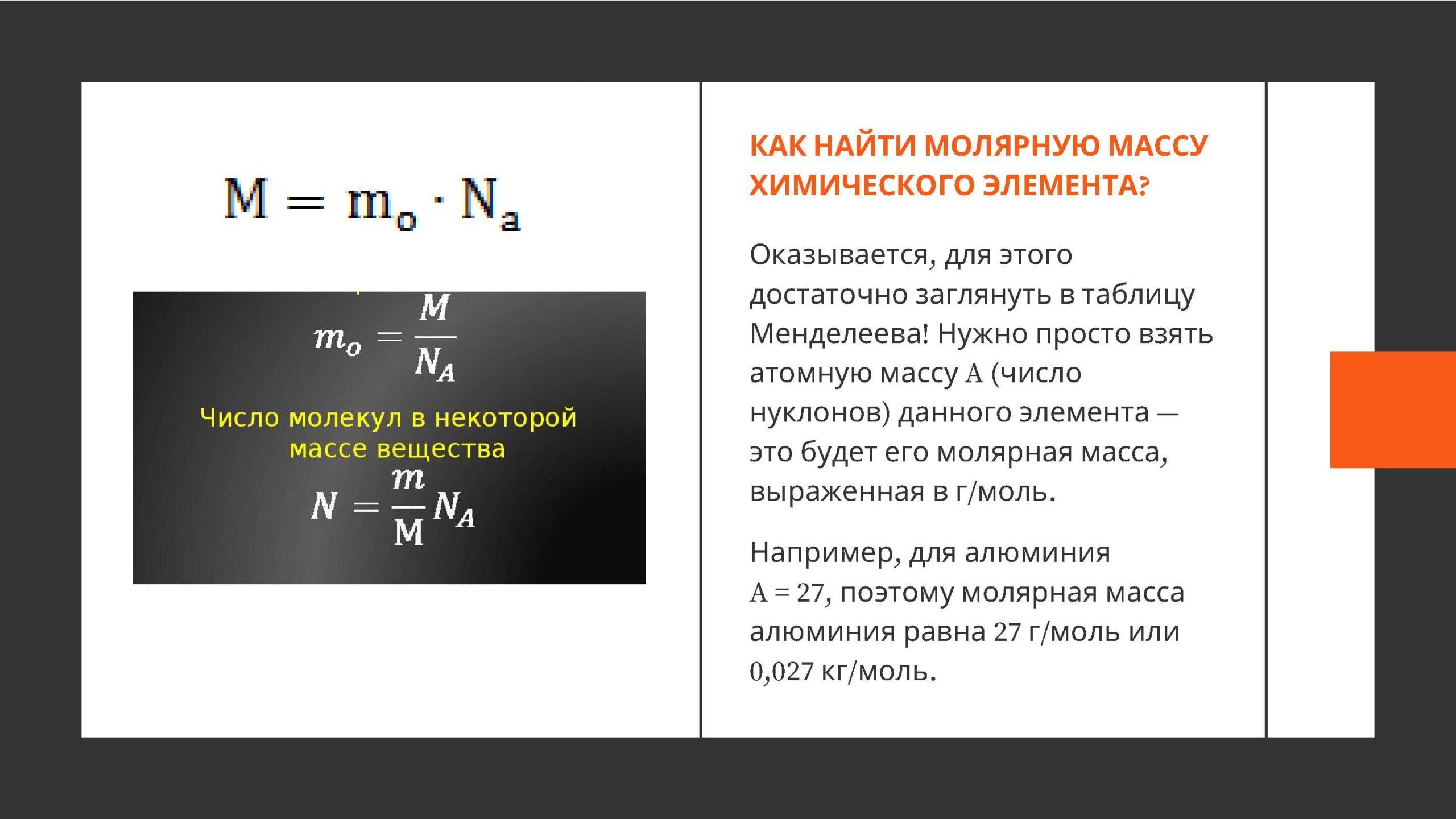 как найти молярную массу химического элемента