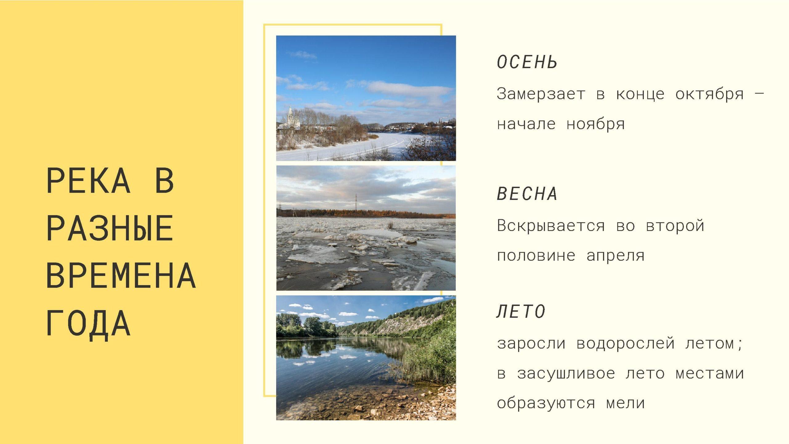 Река Сылва в разные времена года