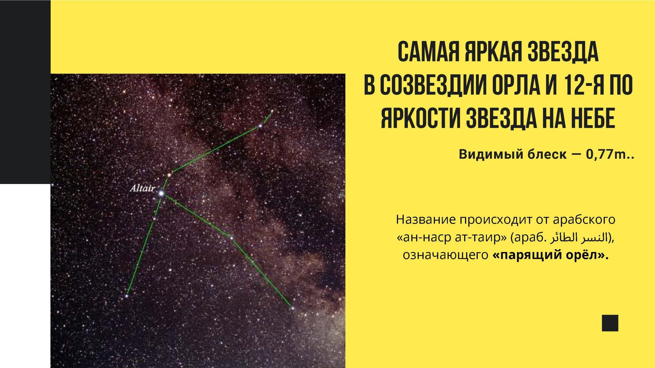 Самая яркая звезда в созвездии Орла и 12-я по яркости звезда на небе