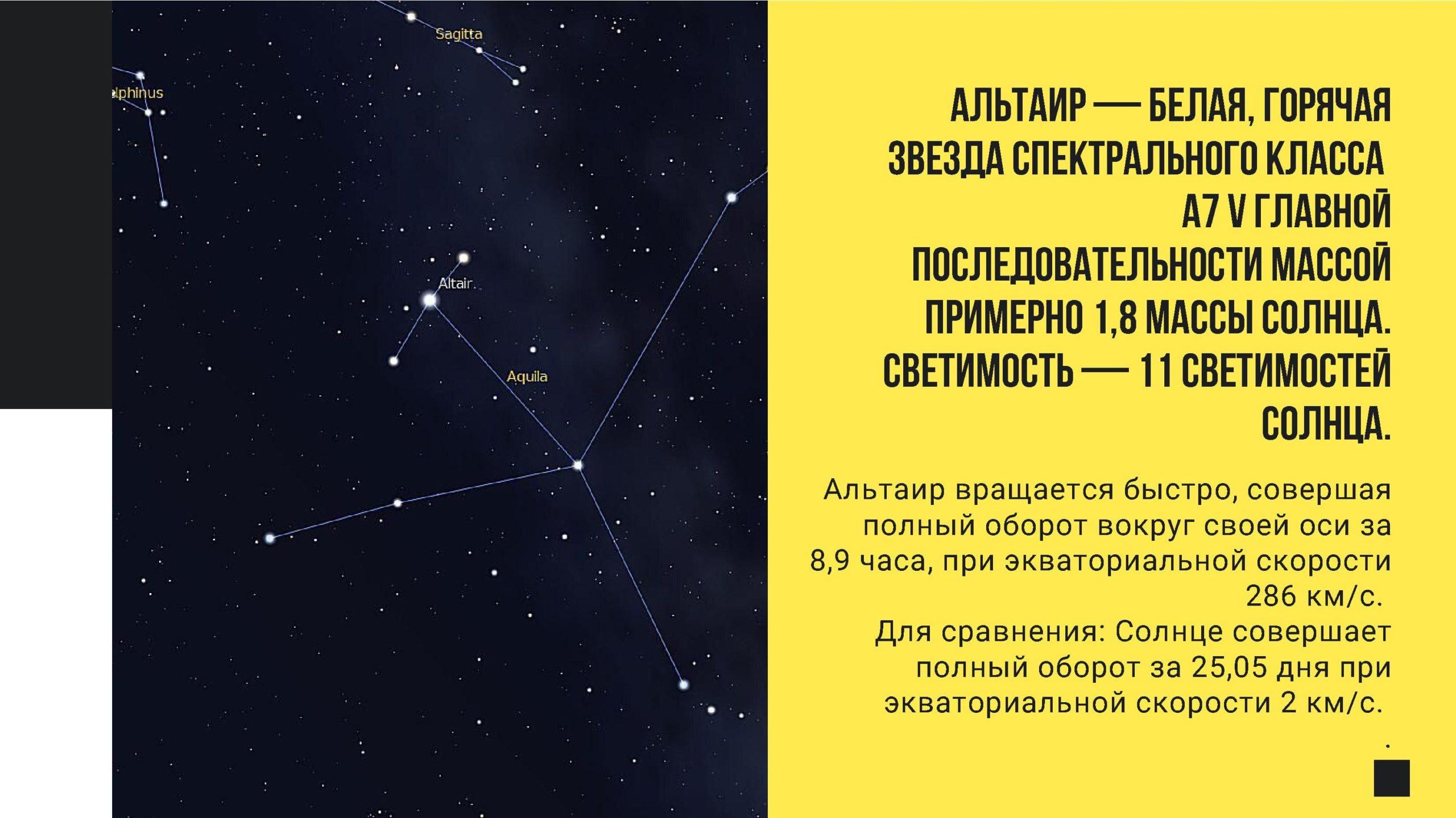 Альтаир - белая, горячая звезда спектрального класса А7 V главной