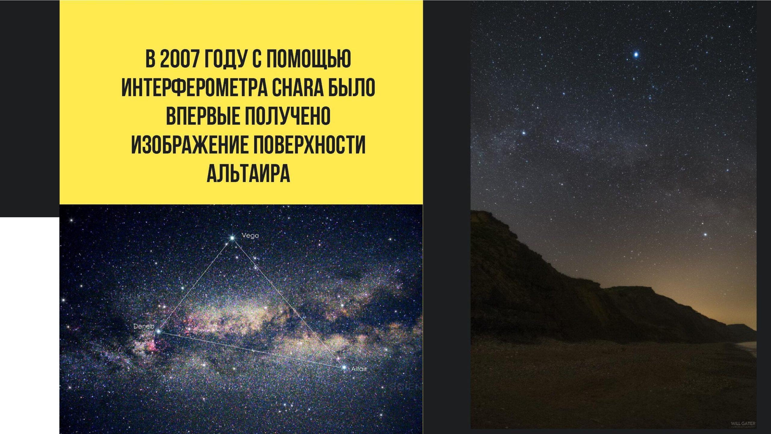 в 2007 году с помощью интерферометра chara было впервые получено изображение поверхности Альтаира