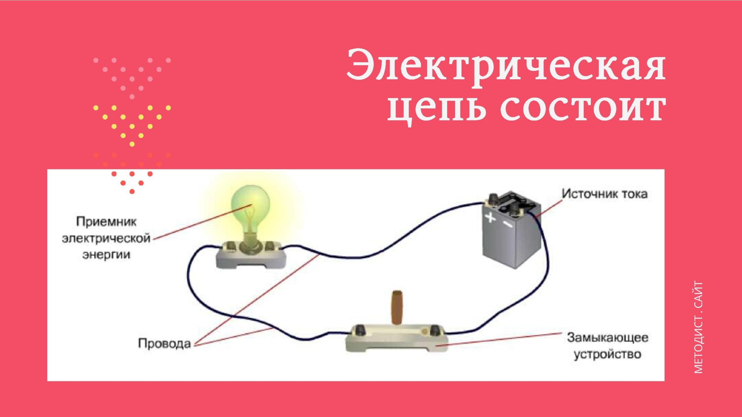 Электрическая цепь состоит