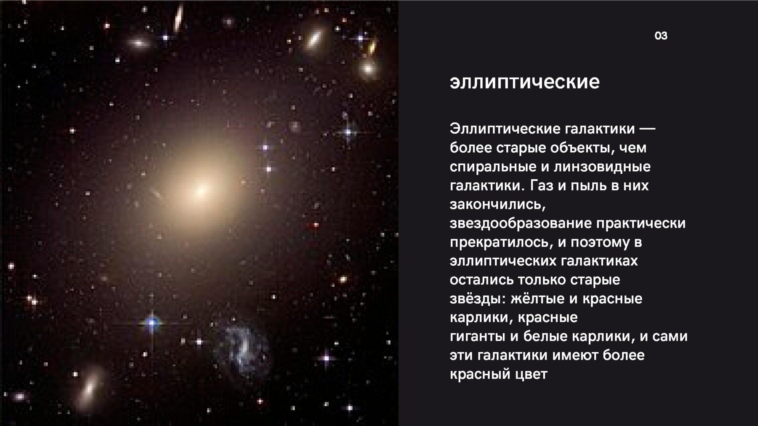 Эллиптические галактики - более старые объекты, чем спиральные