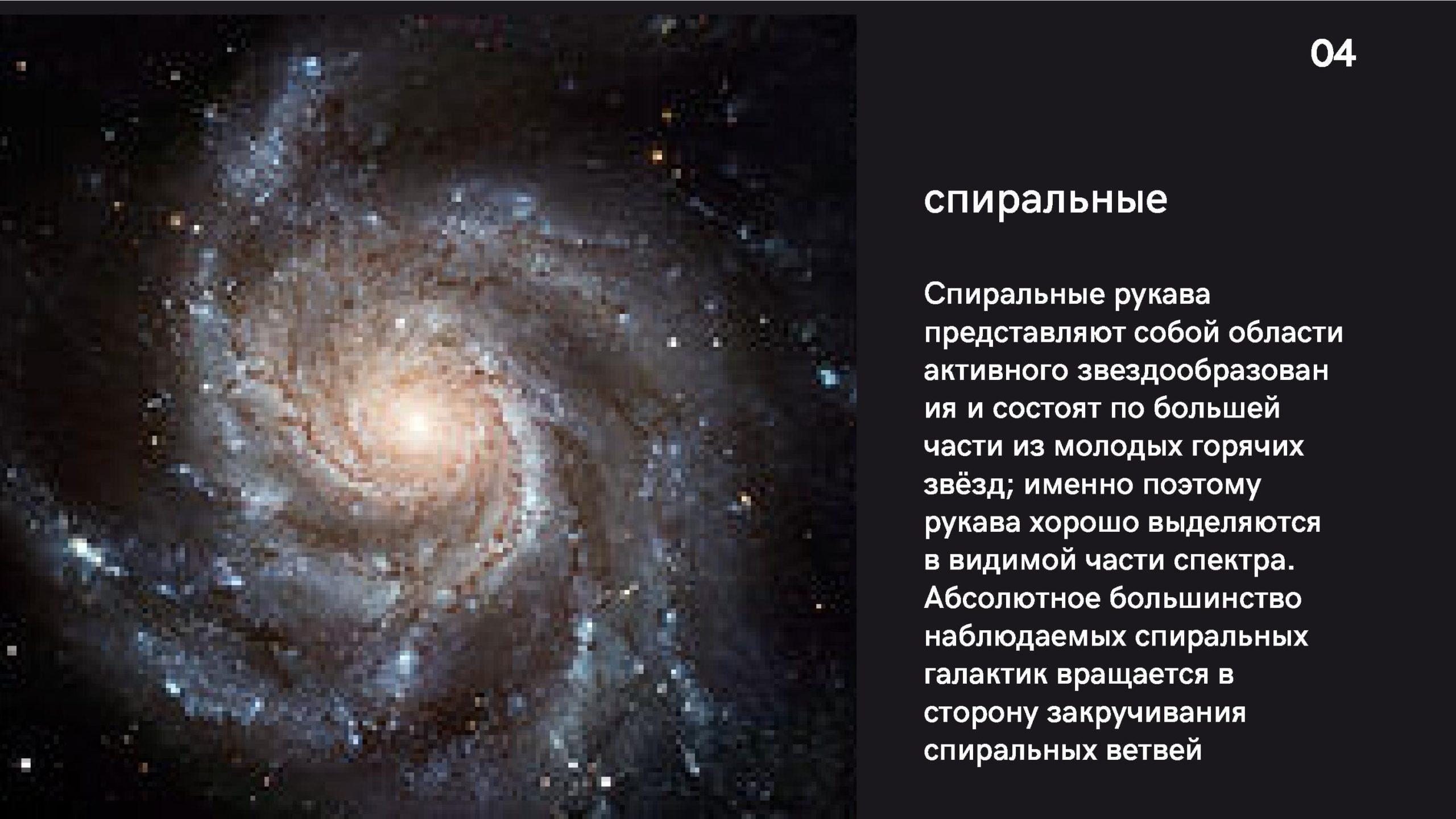 Спиральные галактики. Спиральные рукава представляют собой