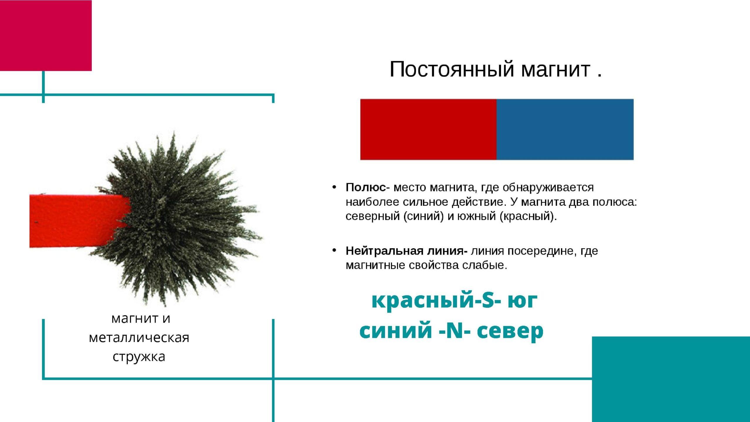 Постоянные магнит. Красный - юг, синий - север