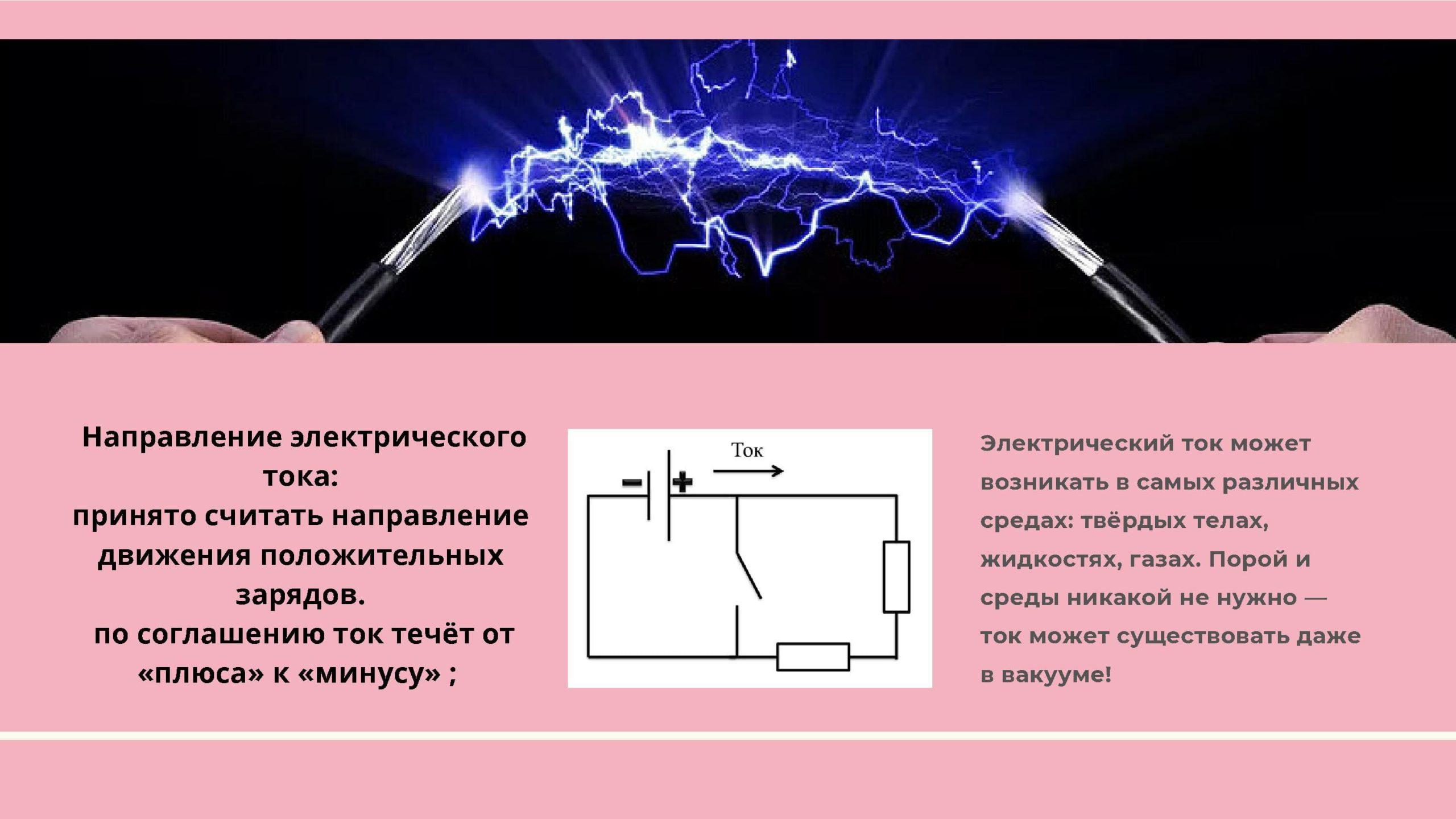 Направление электрического тока: принято считать направление движения