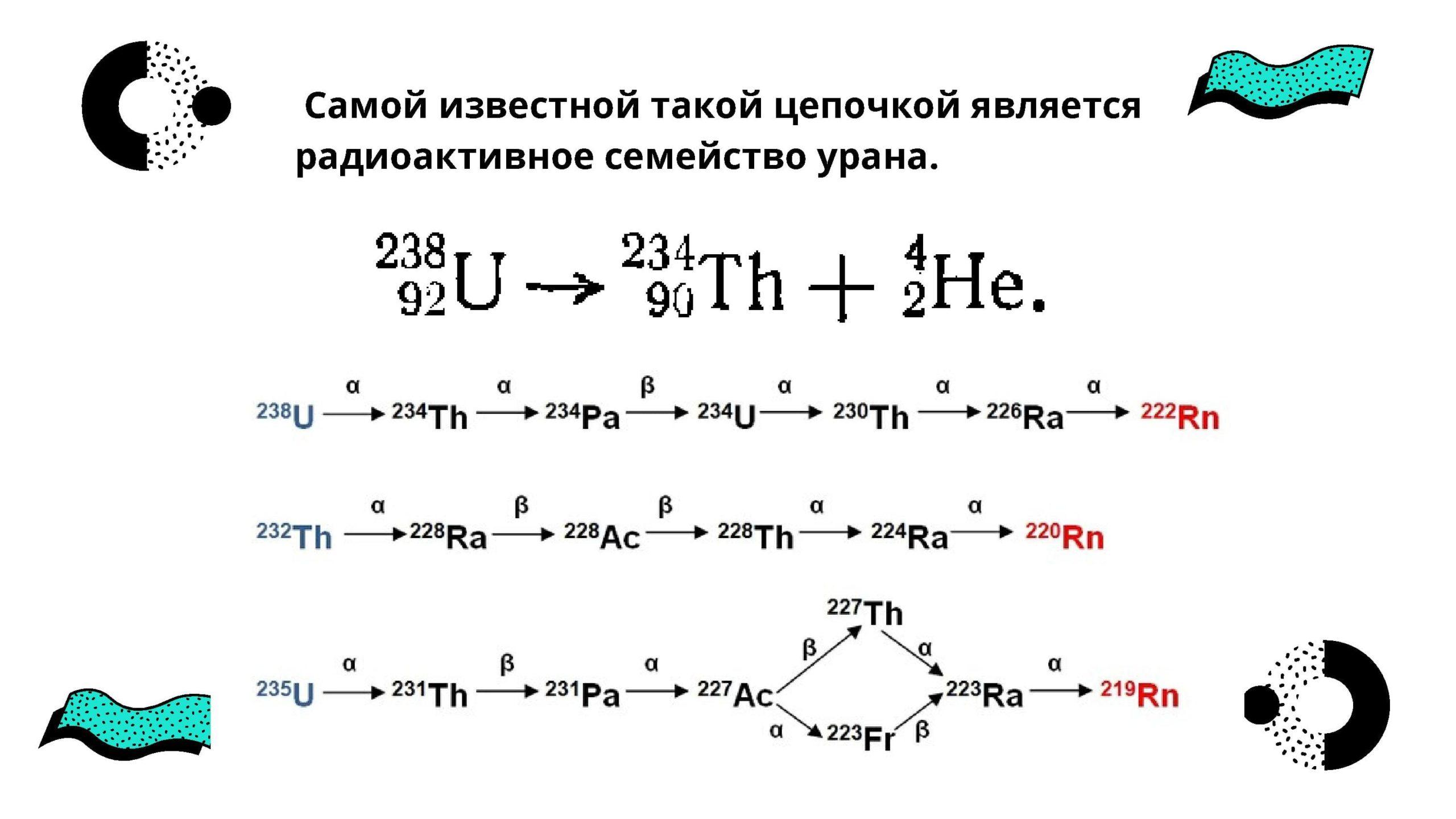 Самой известной такой цепочкой является радиоактивное семейство урана