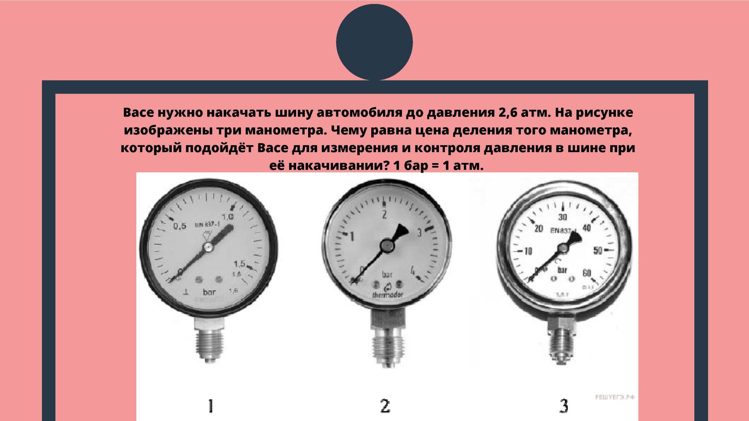Васе нужно накачать шину автомобиля до давления 2,6 атм. На рисунке