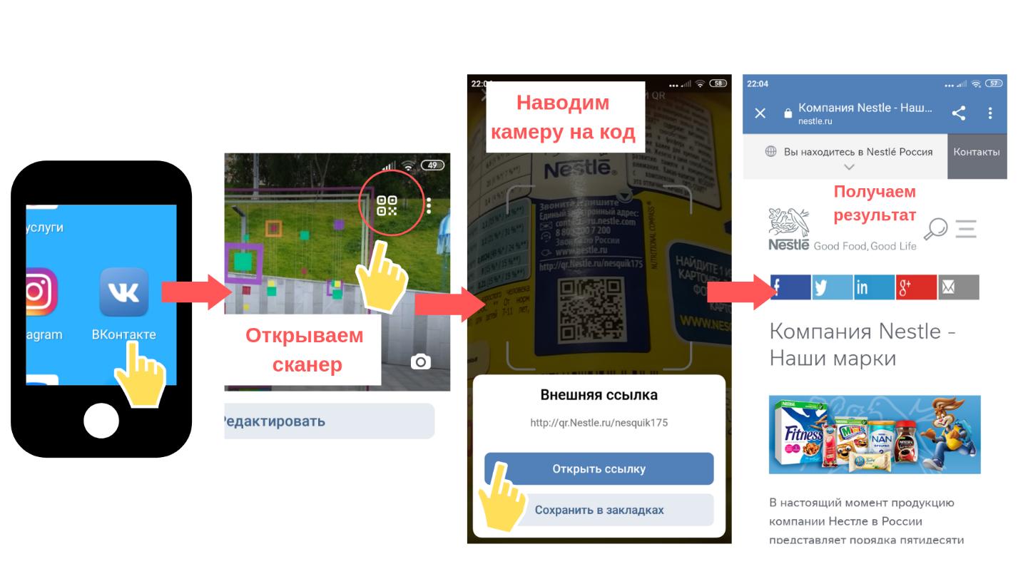 Рисунок 1.2 – Скрины работы со сканером QR кодов в ВКонтакте