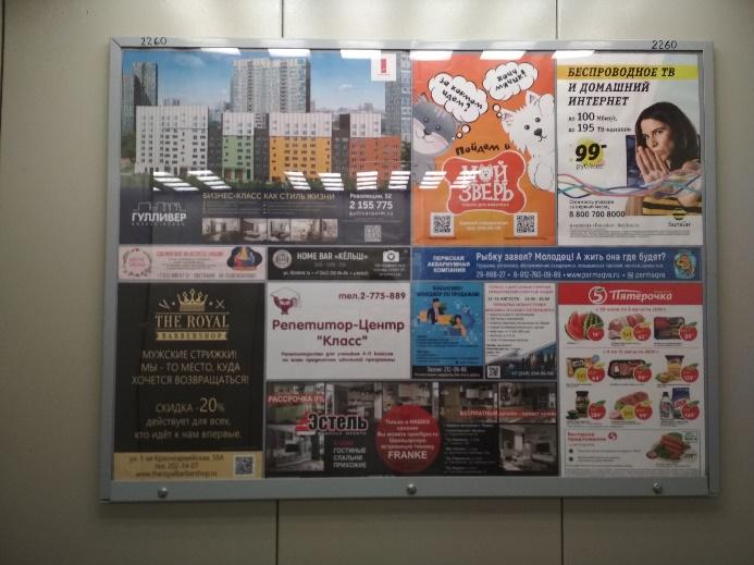 Рис.2.29 – реклама в лифте жилого дома ул.Крылова, 15а (снято: 08.08.2019 г.)