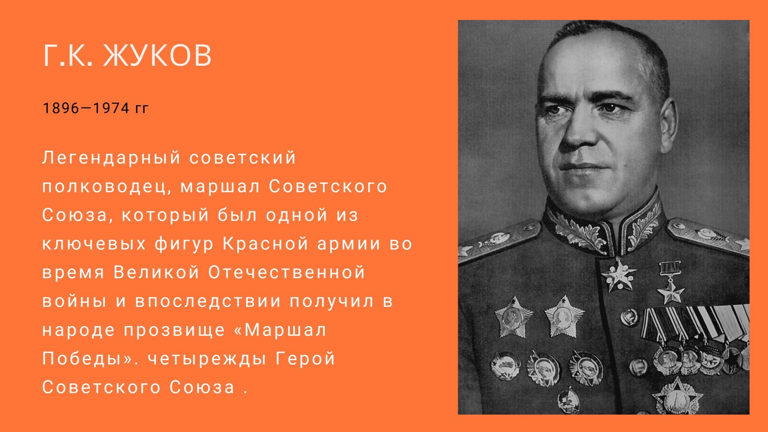 Г. К. Жуков 1896-1974 гг