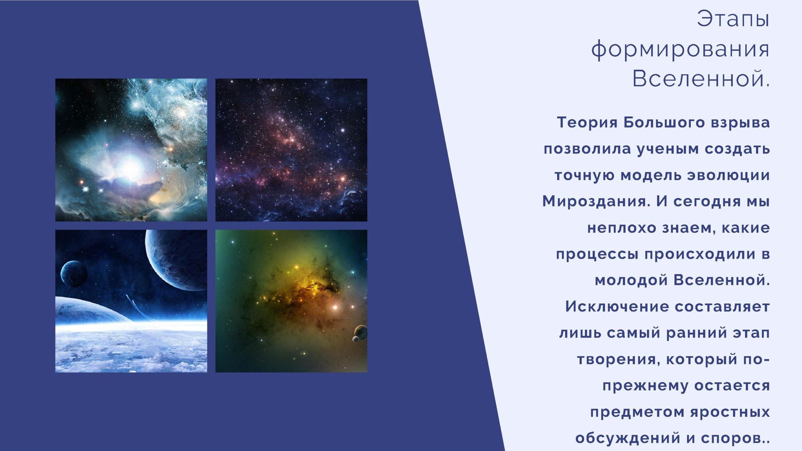 Этапы формирования Вселенной.