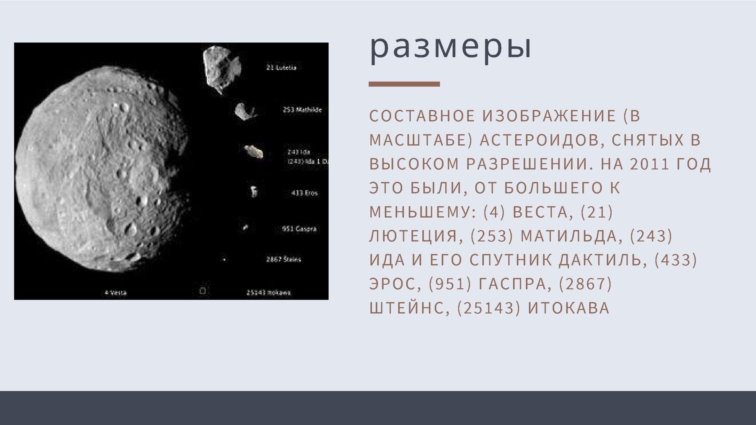 размеры астероидов