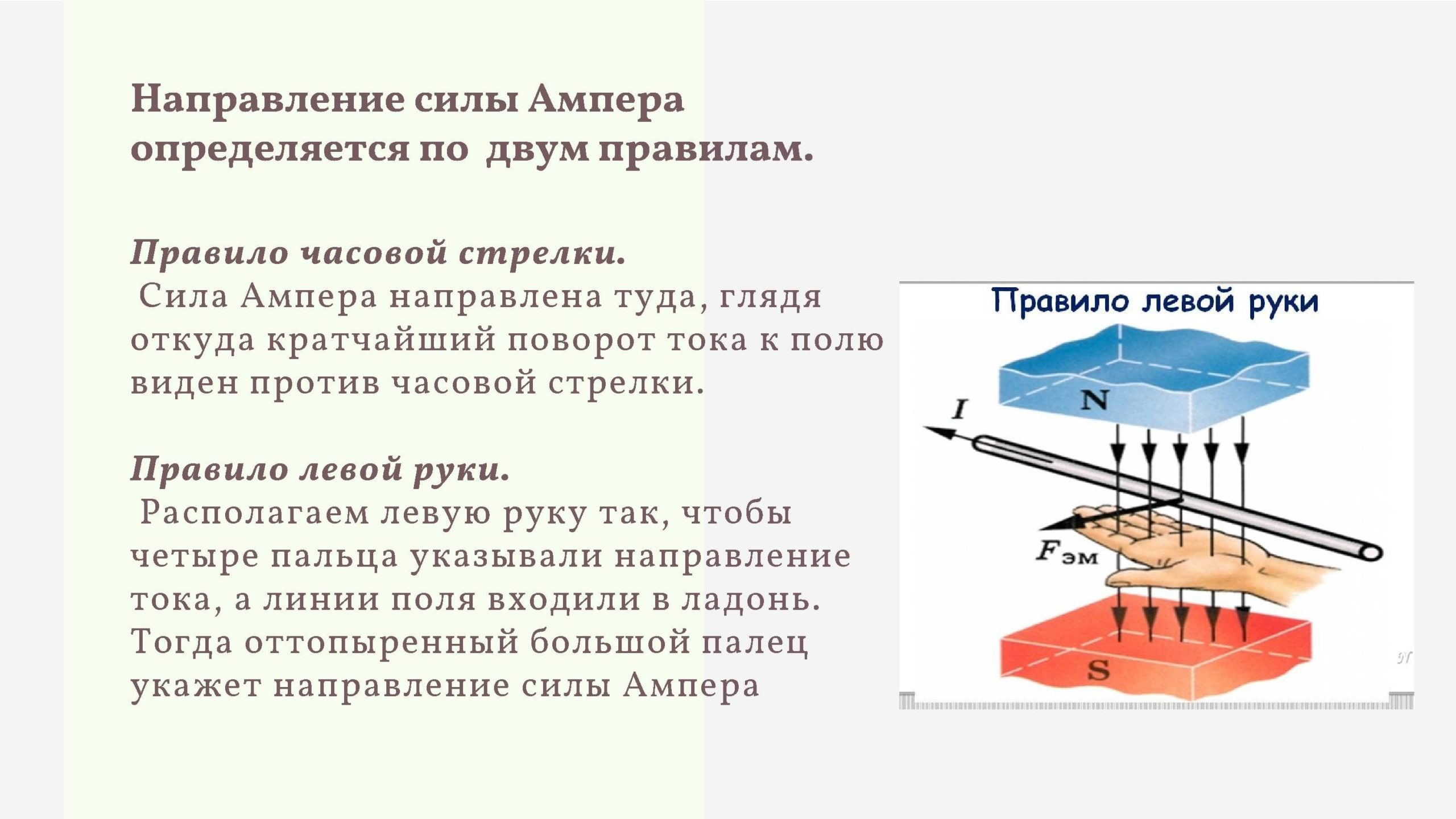 Направление силы Ампера определяется по двум правилам
