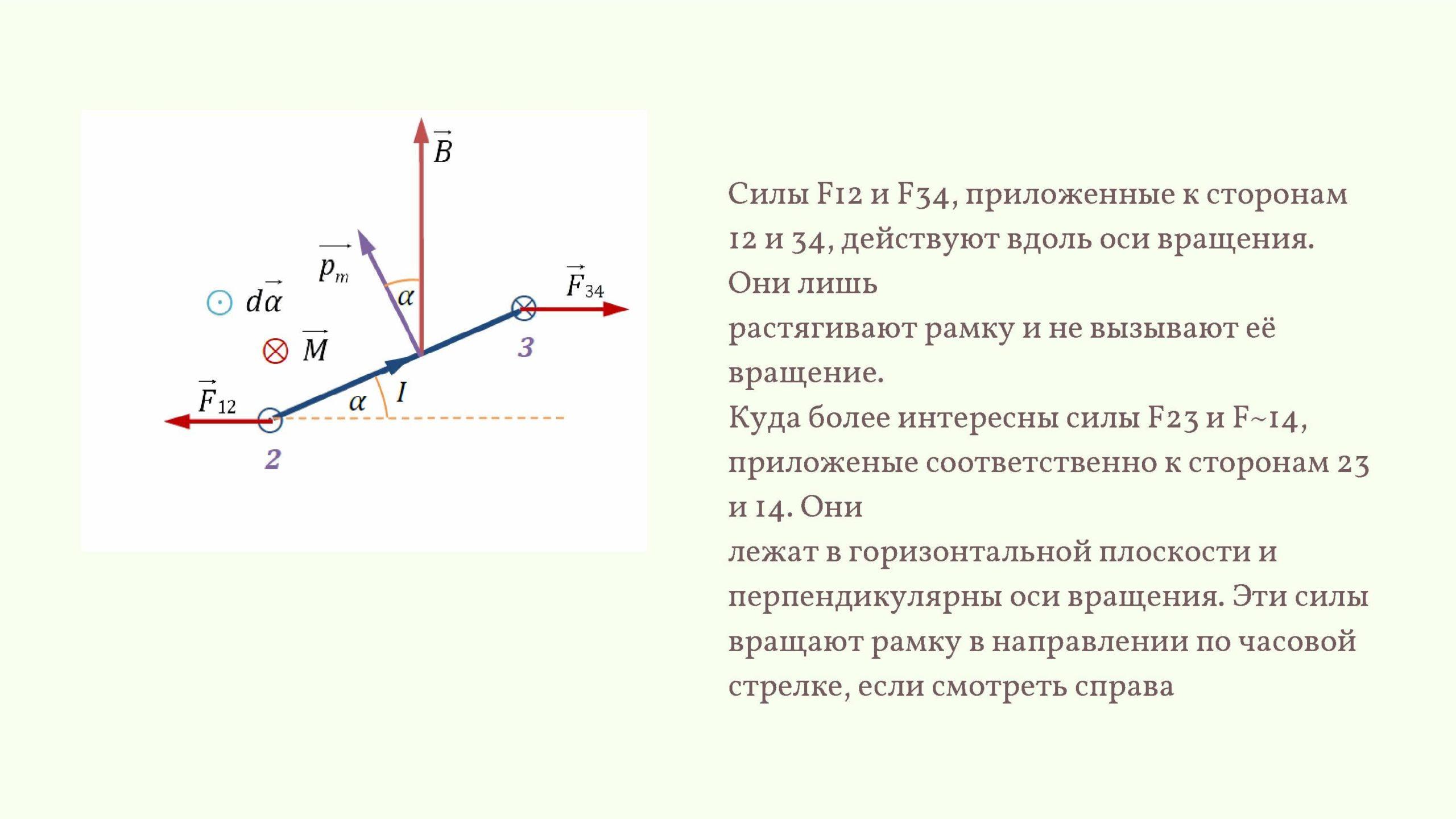 Силы F12 и F34, приложенные к сторонам 12 и 34, действуют вдоль оси вращения.
