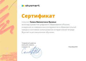 Сертификат Skysmart