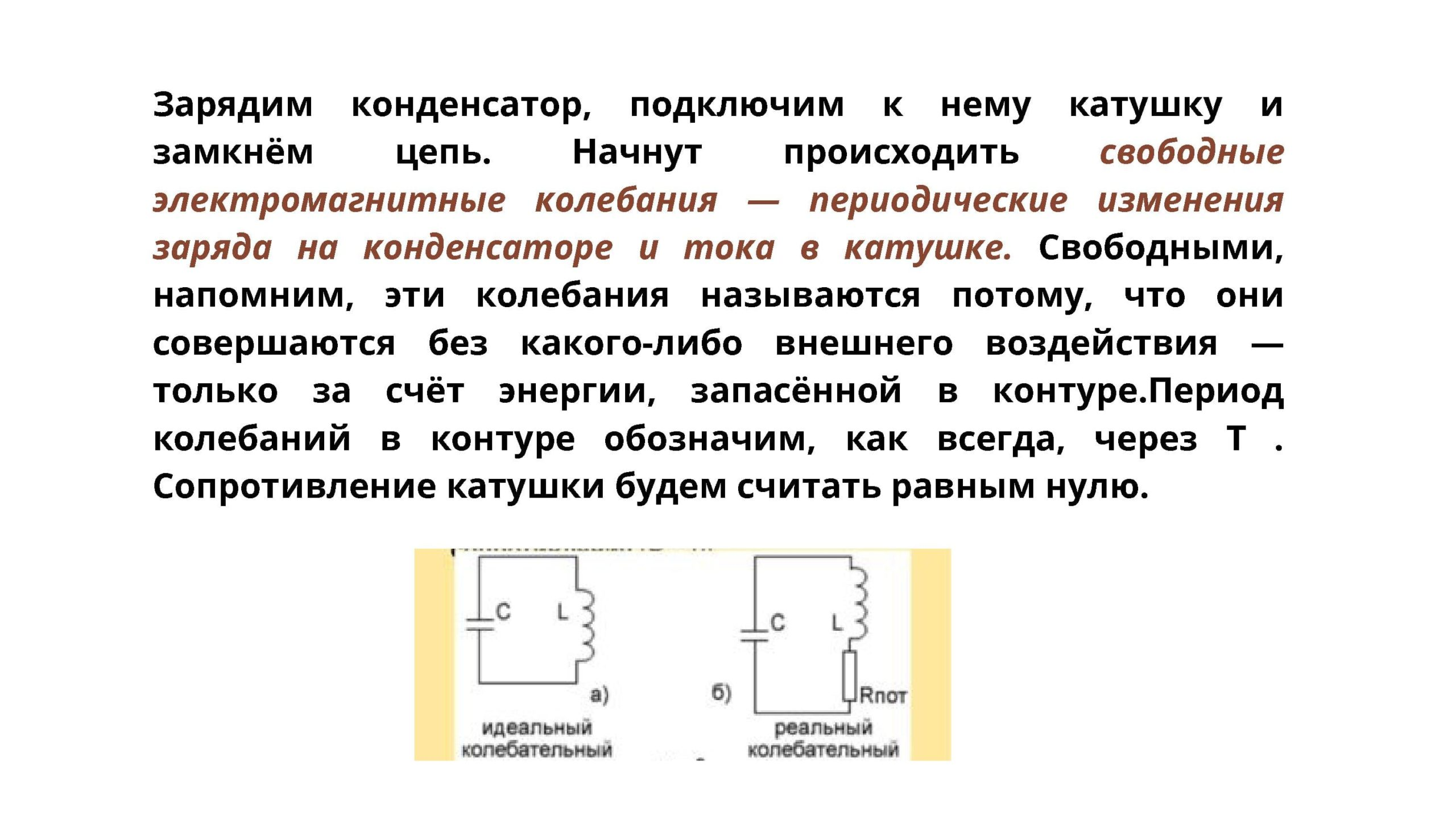 Свободные электромагнитные колебания - периодические изменения заряда